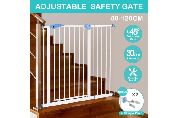 Baby Pet Safety Gate with 80 to 120cm - White
