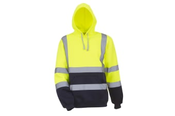 Yoko Mens High Visibility Pull-Over Hoodie (Pack of 2) (Yellow/Navy) (S)