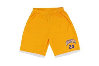 Men's Basketball Sports Shorts Gym Jogging Swim Board Boxing Sweat Casual Pants - Yellow - Los Angeles 24