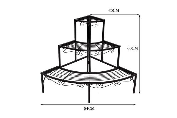Outdoor Indoor Pot Plant Stand Garden Metal 3 Tier Planter Shelves Corner Shelf