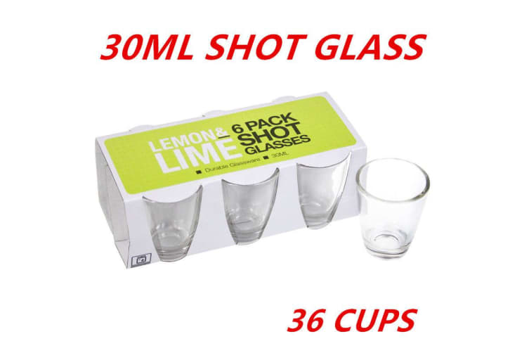 36 x Glass Shot Cups 30ml Vodka Shot Whiskey Wine Beer Tea Glass Drinking Cup Party W
