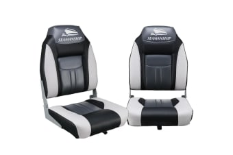 Seamanship Set of 2 Folding Swivel Boat Seats - Grey and Black