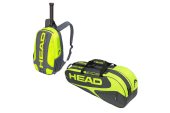 Head Elite Tennis 6R Combi Carry Sports Bag w/ Backpack f/ Racquet/Racket GY/NYL