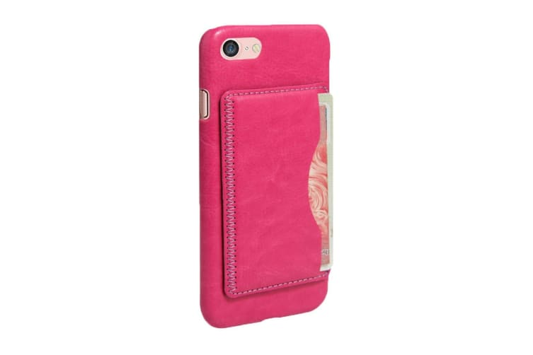 For iPhone 8 7 Case  Horse Texture Durable Leather Back Shell Cover Magenta