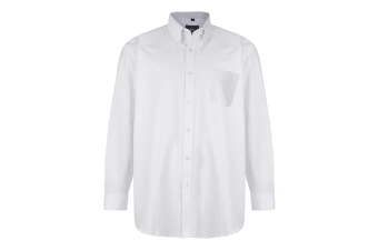 Kam Jeanswear Mens Long Sleeve Oxford Shirt (White)