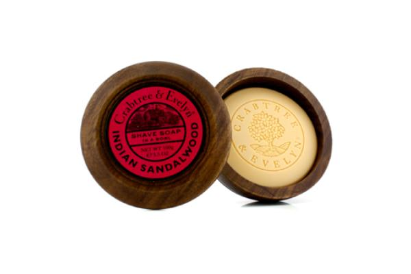 Crabtree & Evelyn Indian Sandalwood Shave Soap In Wooden Bowl (100g/3.5oz)