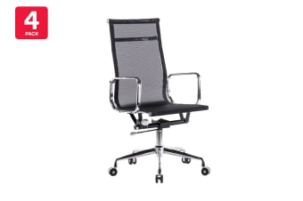 4 Pack Ergolux Executive Eames Replica High Back Mesh Office Chair (Black)