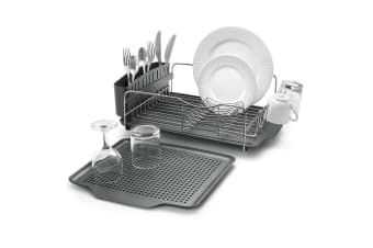 4pc Polder Advantage Dish Cup Plates Drying Rack Holder Kitchen Organiser w Tray