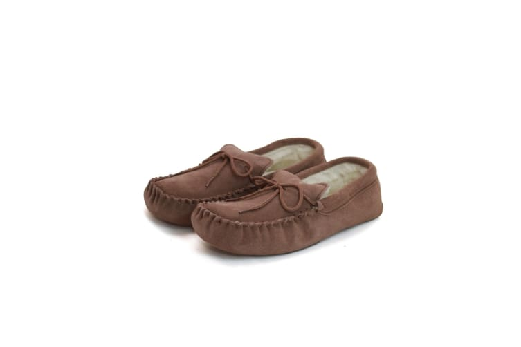 Eastern Counties Leather Unisex Wool-blend Soft Sole Moccasins (Camel) (9 UK)