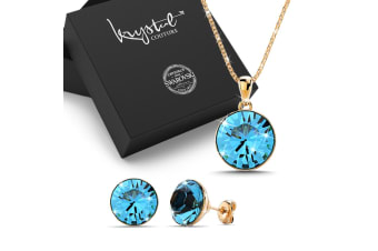 Dolly Necklace and Earrings Set Blue Embellished with Swarovski crystals