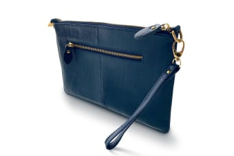 Cleo Genuine Soft Leather Clutch Bag-Blue