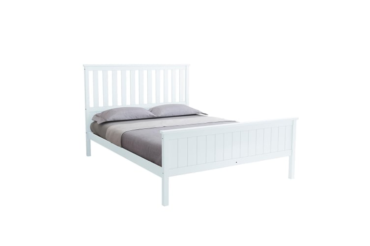 Queen Size Wooden Bed Frame Pine Platform Mattress Base w/Headboard - White