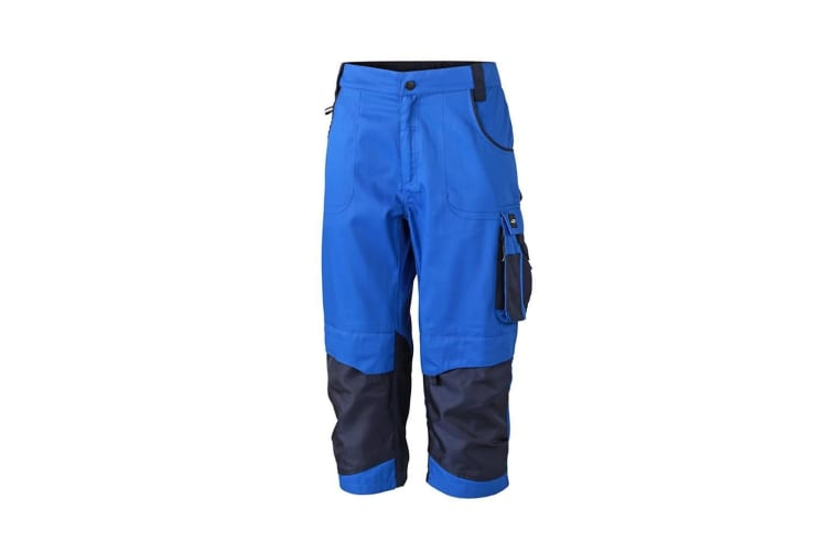 James and Nicholson Unisex Workwear 3/4 Pants (Royal Blue/Navy) (40R)
