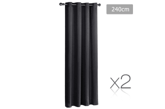 Art Queen 2 Panel 240 x 230cm Block Out Curtains - Black