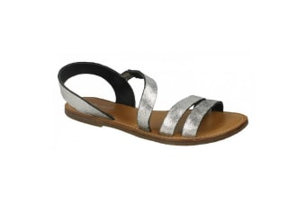 Leather Collection Womens/Ladies Strap Slingback Mule Sandals (Silver)