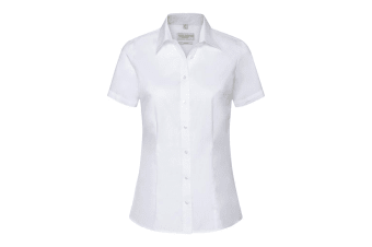 Russell Collection Womens/Ladies Short Sleeve Tailored Shirt (White)