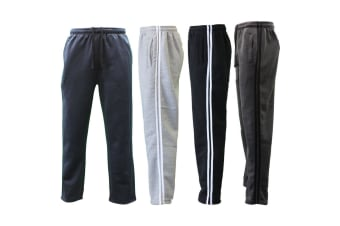 NEW Men's Fleece Lined Track Pants Track Suit Pants Striped Casual Trackies -Black w White Stripes