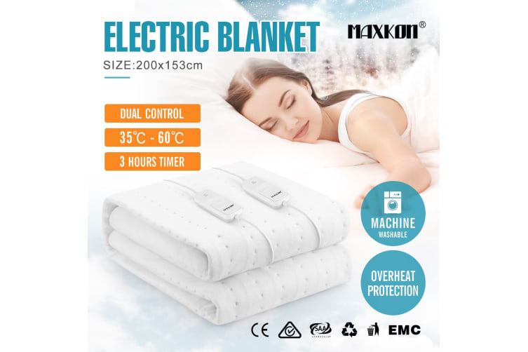 Maxkon Queen 200X153CM Dual Controller Washable Electric Blanket