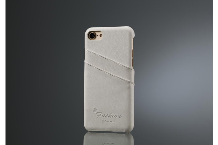 For iPhone 8 7 Case Fashion Stylish Handmade Genuine Lychee Leather Cover White