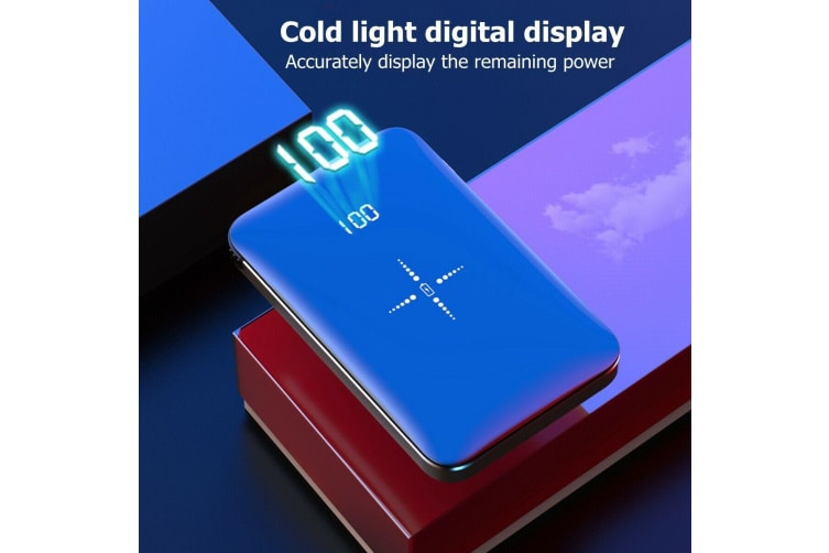 10000mAh Mini Power Bank Qi Wireless Portable Fast Charger USB LCD Type-C Glass-red