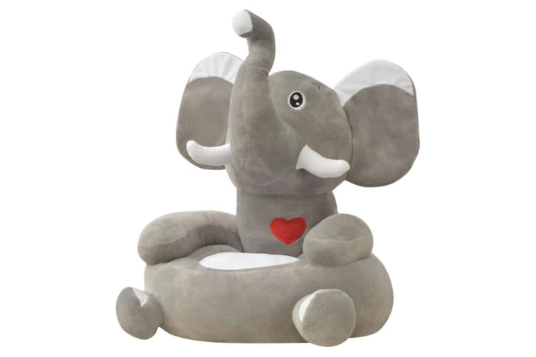 vidaXL Plush Children's Chair Elephant Grey