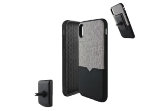 Evutec iPhone XS Max Northill Case with BONUS AFIX+ Magnetic Car Mount - Canvas/Black