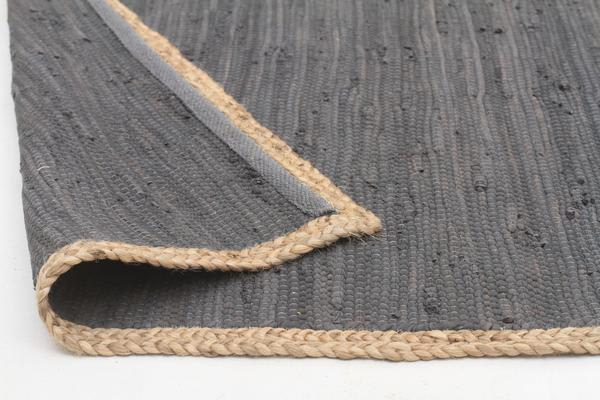Reno Cotton and Jute Rug Charcoal 270x180cm