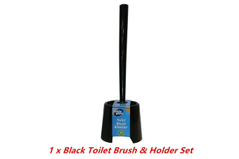 1 x Black Plastic Toilet Brush n Holder Set Stand Bowl Bathroom Cleaning Supply Home