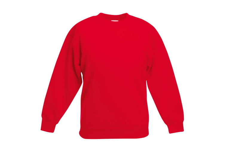 Fruit Of The Loom Kids Unisex Classic 80/20 Set-In Sweatshirt (Pack of 2) (Red) (7-8)