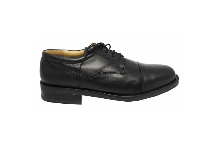 Roamers Mens Plain Leather Capped Gibson Formal Shoes (Black) (7 UK)