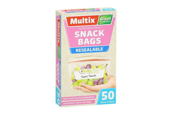 50 Multix Resealable Green Degradable Snack Bags 16 x 10cm w/ Write On Panel