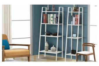 4 Tier Home Storage Ladder Shelf Bookshelf 60cm Width White Colour