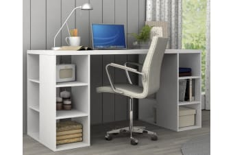 White Desk With Bookcase Shelves Office Computer Table 6 Storage Shelf