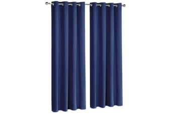 Art Queen 2 Panel 240 x 213cm Block Out Curtains (Navy)