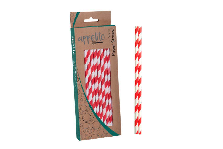 Appetito Paper Straws - Pack 50-red + White Stripe