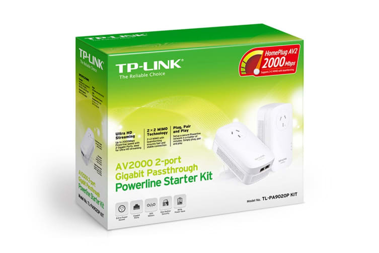 TP-Link 2-Port Gigabit AV2000 Passthrough Powerline Starter Kit (PA9020P)