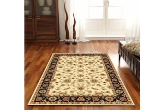 Classic Runner Rug Ivory with Black Border