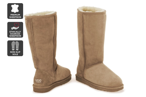 Outback Ugg Boots Long Classic - Premium Sheepskin (Chestnut, Size 5M / 6W US)