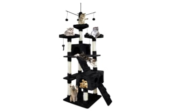 PaWz 0.6-2.1M Cat Scratching Post Tree Gym House Condo Furniture Scratcher Pole  -  Black210CM