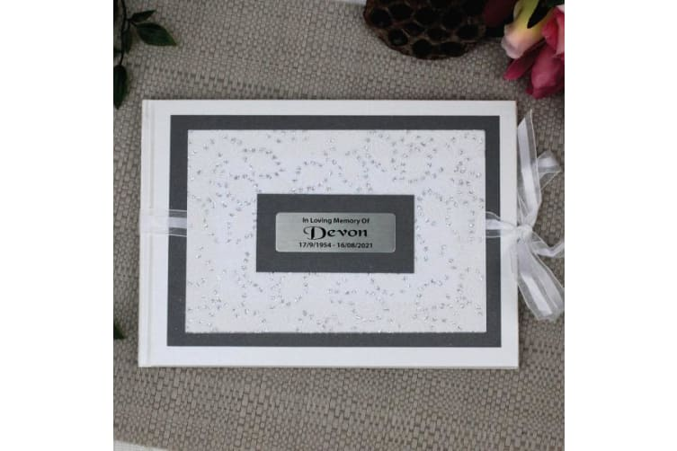 Personalised Memorial Guest Book- Filigree Sparkle