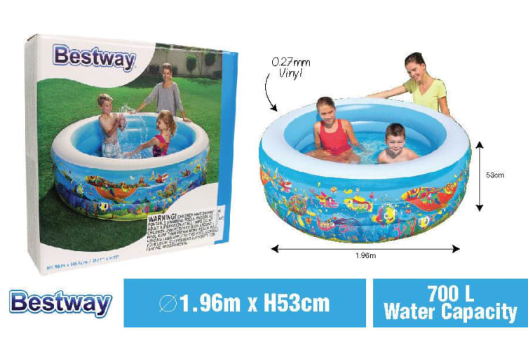 Bestway Inflatable Swimming Pool Round Family Kids Play Pools Garden 196x53CM DF