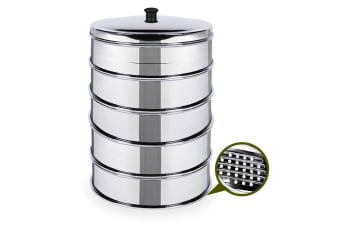 SOGA 5 Tier 28cm Stainless Steal Steamers With Lid Work inside of Basket Pot Steamers