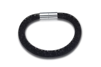 Mesh Single Wrap Bracelet Black w/Swarovski Crystals-Black