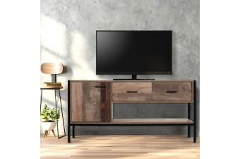 TV Cabinet Entertainment Unit Stand Storage Wooden Industrial Rustic