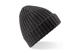 Beechfield Unisex Winter Chunky Ribbed Beanie Hat (Charcoal) (One Size)
