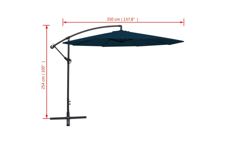 vidaXL Cantilever Umbrella 3.5 m Blue
