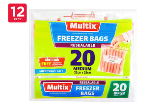 Multix Freezer Bags Resealable Medium 22cm X 25cm (12 x 20 Pack)