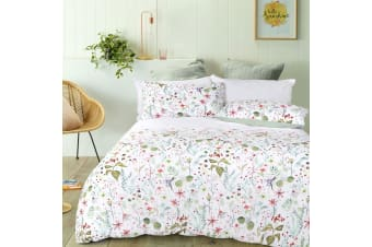 Flora White Quilt Cover Set by Big Sleep