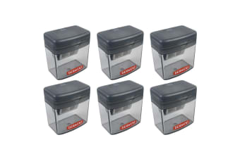 6x Derwent Two/Twin Hole Stationery School/Office Supplies Pencil Sharpener Grey