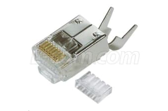HyperLink Technologies TDS8PC5-50PK Cat5e Shielded RJ45 Plug with Strain Relief - 50PK